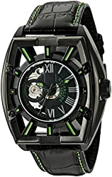 Stuhrling Original Men's 279.335571 Xtreme Millennia Expo Automatic Self-Wind Black Ion-Plated Stainless Steel Watch with Black Leather Band