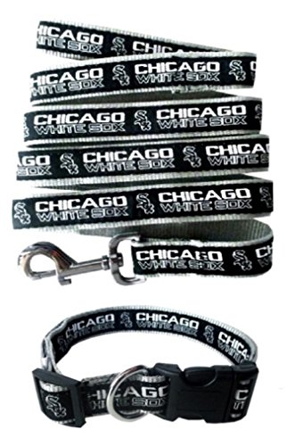 Pets First Chicago White Sox Nylon Collar and Matching Leash for Pets (MLB Official by Size Medium