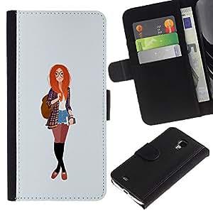 KingStore / Leather Etui en cuir / Samsung Galaxy S4 Mini i9190 / Hipster féministe Education