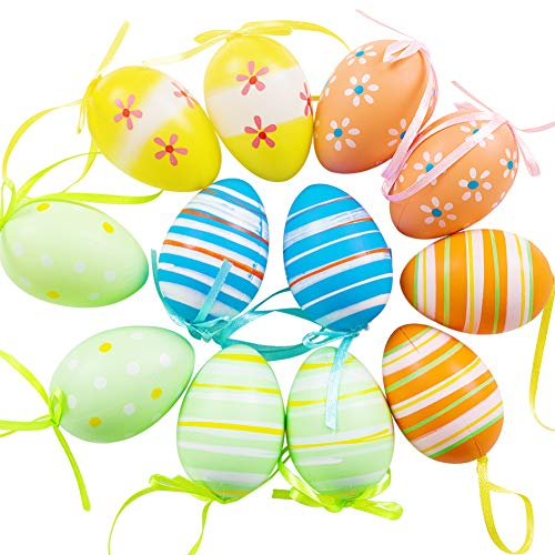 (DomeStar Colorful Easter Eggs, 12PCS Decorative Hanging Eggs Plastic Easter Egg Ornaments Easter Decorations, Random)