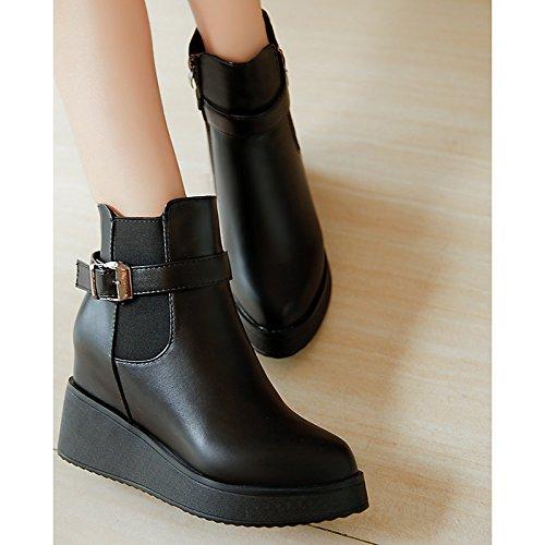 Liane Stivaletti Black per stivali in Scarpe HSXZ Peep Nero Casual stivaletti toe Fluff da invernale similpelle donna fodera fibbia fBOOqSwz