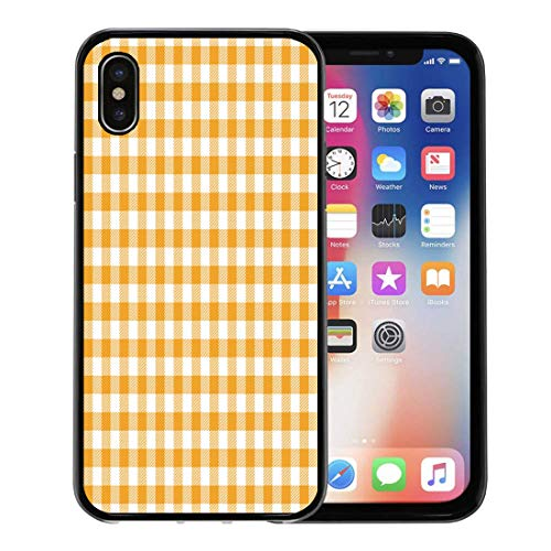 (Semtomn Phone Case for Apple iPhone Xs case,Yellow Gingham and Buffalo Check Plaid Pattern Tablecloths Stamp for Sleepwear Products for iPhone X Case,Rubber Border Protective Case,Black)