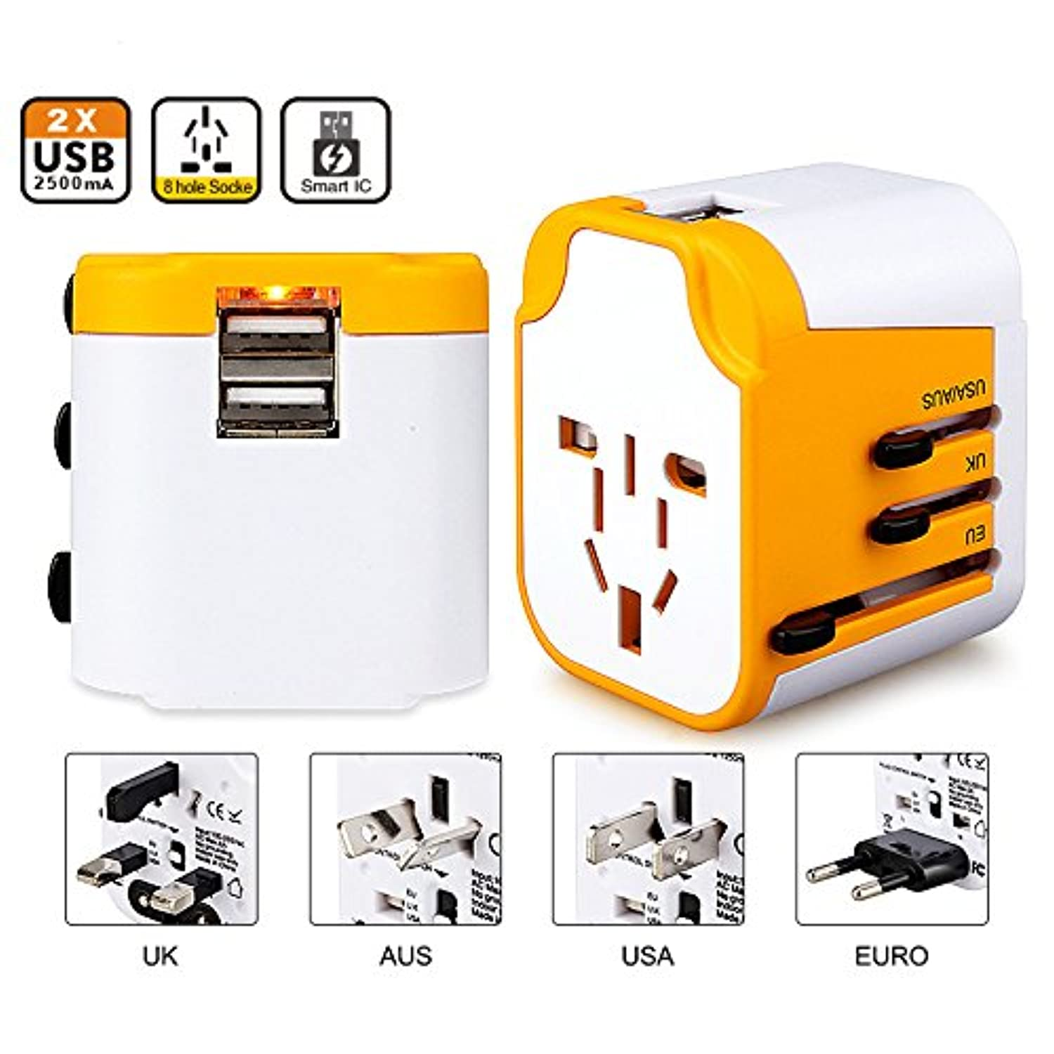 Tpltech 2 Usb Ports Universal Travel Adapter Outlet Plug Electric Charging For Vietnam Japan