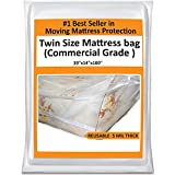 Mattress Bag Cover for Moving or Storage - 5 Mil Heavy Duty Thick Plastic Wrap Protector Reusable Bag