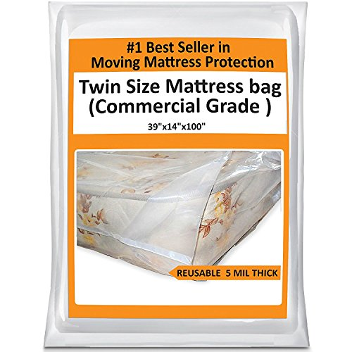 Twin Mattress Bag Cover for Moving or Storage - 5 Mil Heavy Duty Thick Plastic Wrap Protector Reusable Bag - Twin Mattress Bag