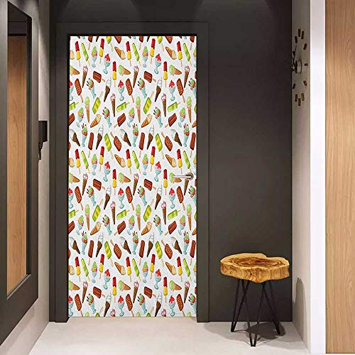 Onefzc Door Sticker Mural Ice Cream Frozen Desserts in Wafer Cone Glazed Eskimo with Whipped Cream Chocolate Sundae WallStickers W23.6 x H78.7 Multicolor