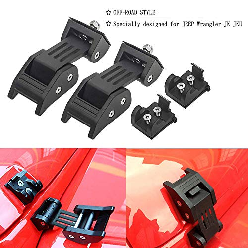 Vincool Heavy Duty Hood Latches Lock Hood Catch Kit Set for 2007-2018 Jeep Wrangler JK & Unlimited Black-Pair