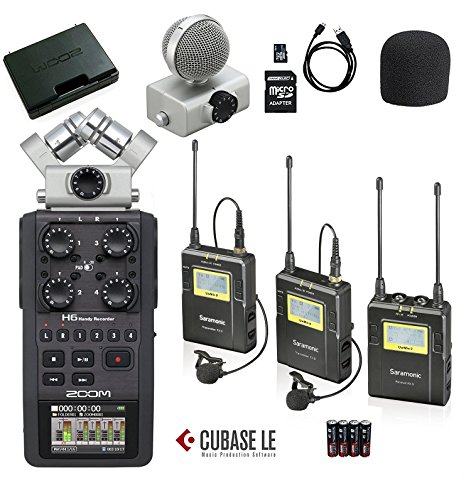 Zoom H6 Six-Track Portable Handy Recorder Bundle with Saramonic UHF Wireless Dual Lavalier Microphone System by Movo