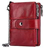 HUANLANG Womens Wallet RFID Blocking Genuine Leather Ladies Purse Bifold Double Zipper Purses for Women with Coin Pockets 14 Card Slots 2 ID Window Multi Card Holder Purse with Chain