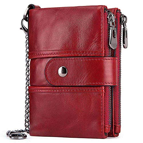 HUANLANG Womens Wallet RFID Blocking Genuine Leather Ladies Purse Bifold Double Zipper Purses for Women with Coin Pockets 14 Card Slots 2 ID Window Multi Card Holder Purse with Chain - Bi Fold Snap