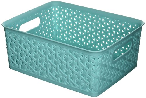 Whitmor Resin Form Tote, Small, Turq (Basket Turquoise)