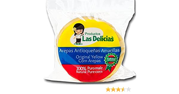 Arepas Antioqueñas Amarillas Pre- Asadas (4 PACKS)(20 UNITS) Yellow Corn Arepas Pre-Heated: Amazon.com: Grocery & Gourmet Food