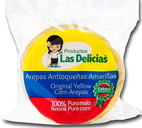 Arepas Antioqueñas Amarillas Pre- Asadas (5 PACKS)(25 UNITS) Yellow Corn Arepas Pre-Heated - Colombian Food Products