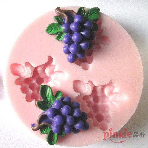(Pinkie Tm Three Holes Grape Fruit Fondant Cake Silicone Mold Chocolate Clay Resin Mould Sugarcraft Cake Decorating Tools )