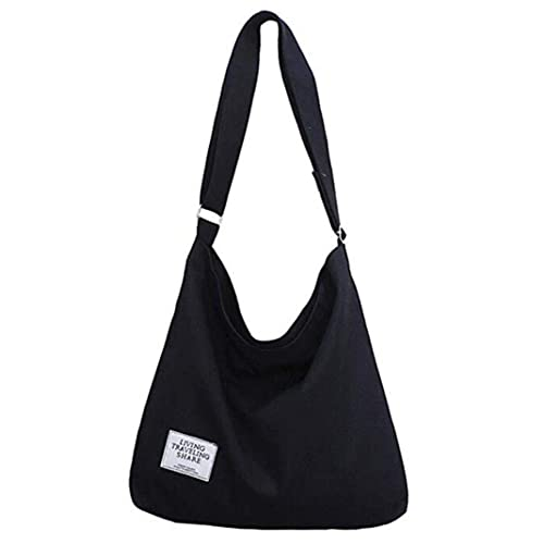 f10b634c733b Women Large Capacity Canvas Shoulder Bag Hobo Crossbody Handbag Tote  Messenger Bag (Black)