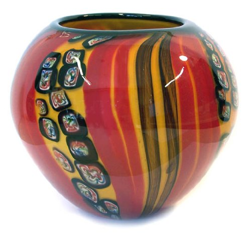 Murano Art Glass Vase Bowl Stripes Millefiori A46 with Certificate