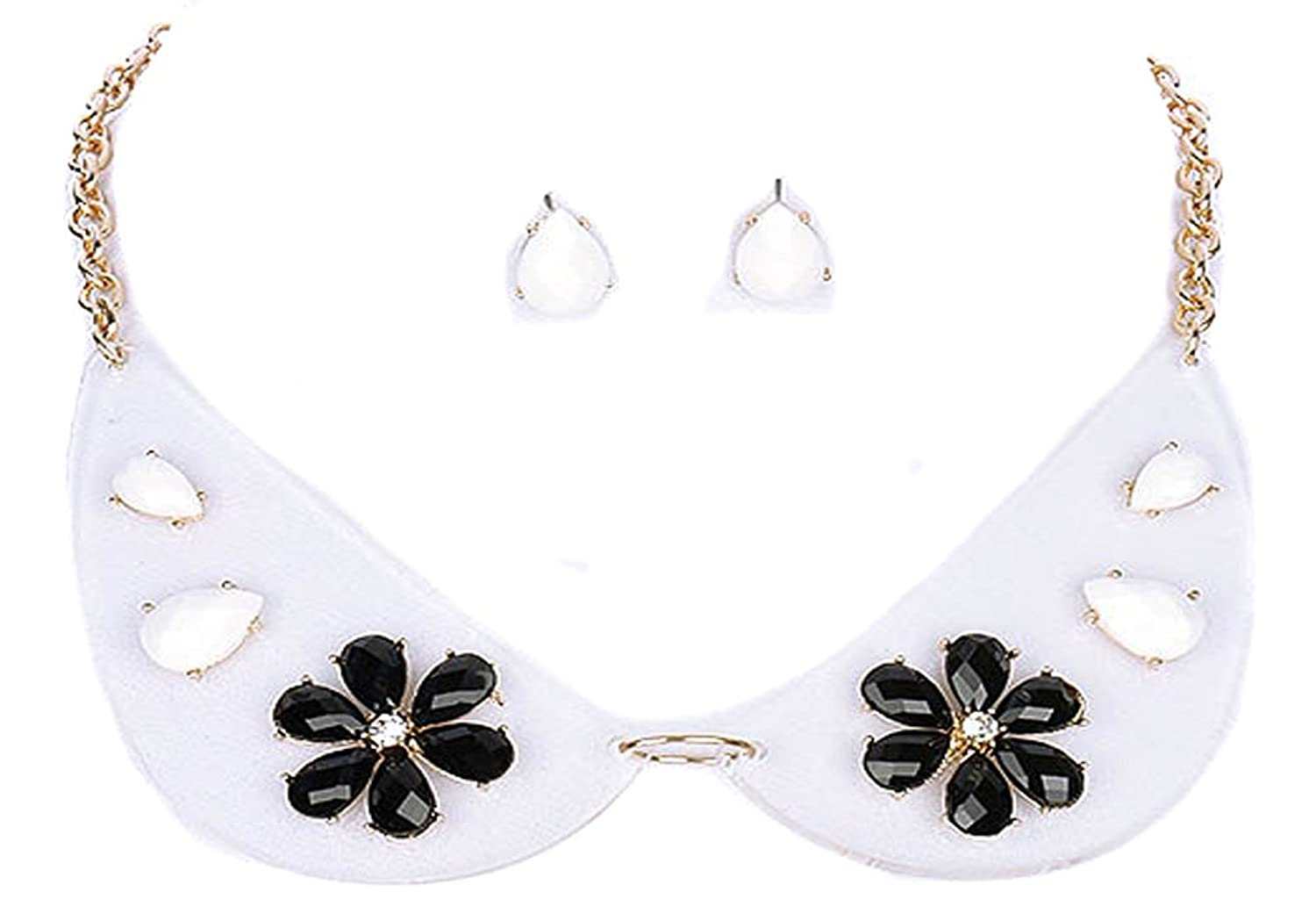 Fashion Jewelry ~ Black White Flowers Lucite Stones Clear Collar Necklace and Earrings Set