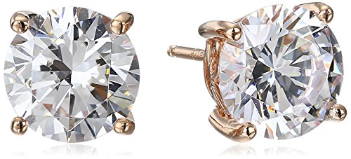 Rose Gold Plated Sterling Silver Stud Earrings set with Round Cut Swarovski Zirconia (5 cttw)
