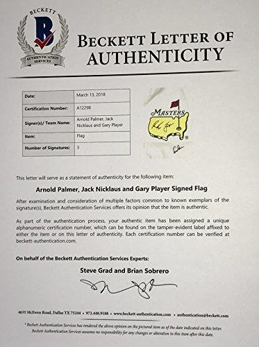 Masters golf flag Arnold Palmer Jack Nicklaus Gary Player signed big ...