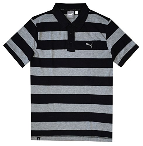 - PUMA Men DryCell Striped Pique Polo T-Shirt (M, Cotton black-medium gray)