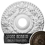 """Ekena Millwork CM18ROSHC Rose Ceiling Medallion, 18""""OD x 3 1/2""""ID x 1 1/2""""P (Fits Canopies up to 7 1/4""""), Hand-Painted Stone Hearth Crackle"""