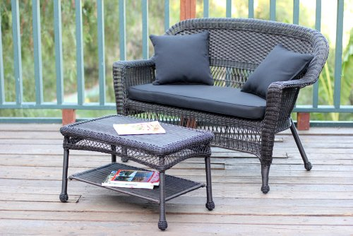 Jeco W00201-LCS017 Wicker Patio Love Seat and Coffee Table Set with Black Cushion, Espresso
