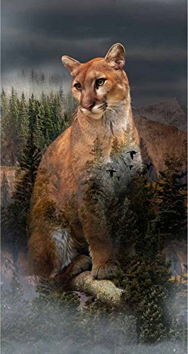 """Cougar/Pine Panel - Call of The Wild Digital Print - 22"""" x 44"""" - 100% Cotton Quilt Fabric"""