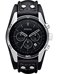 Fossil Men's Sports Chronograph Leather Cuff Dial Watch Black CH2586