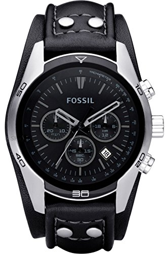 0fce0f7b43530 Fossil Men s Sports Chronograph Leather Cuff Dial Watch Black CH2586  Fossil   Amazon.ca  Watches