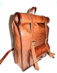 Distressed Goat Leather Messenger / Laptop Satchel College School Backpack Rucksack Shoulder Bag
