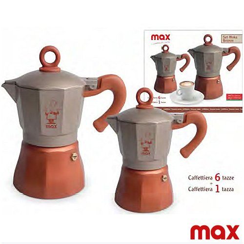 Caffettiera Moka Caff/è Espresso Set 2 Pezzi da 1 e 6 Tazze Linea Bronzo Silver Max Idea Regalo