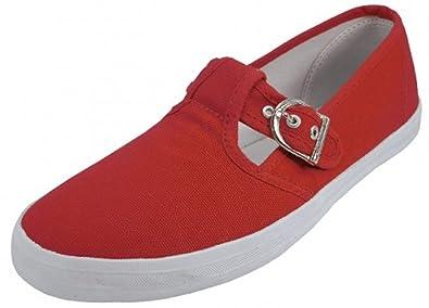 Amazon.com: u-245l Mujer Mary Jane Zapatos lona zapatillas ...