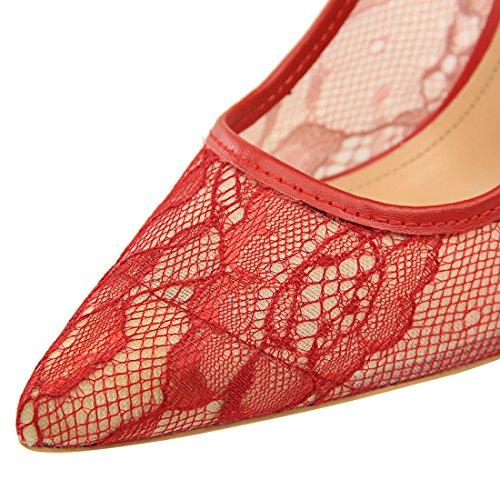 YE Damen Stiletto High Heels Spitze Pumps mit 10cm Absatz Elegant Party Schuhe Rot