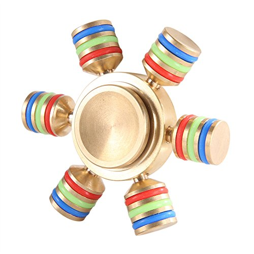 KINUT Tri Hand Spinner Triangle DIY Puzzle Finger Toy EDC Focus Toys For Austim Learning &Educational Toy (Six angle gold)