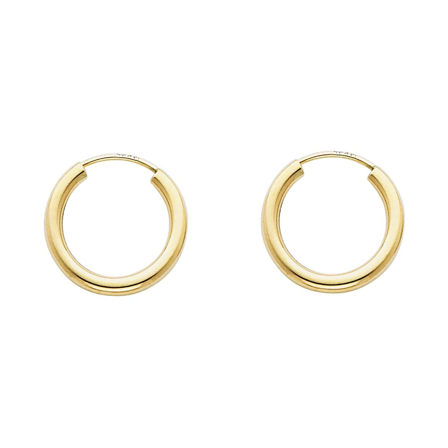 Amazon: 14k Yellow Gold 2mm Thickness Endless Hoop Earrings (15 X 15  Mm): Jewelry