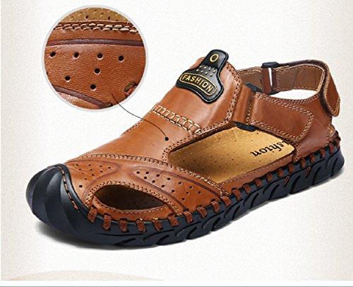 Ledersandalen schweißabsorbierend Herren Wandern Schuhe Sandalen Red Outdoor Atmungsaktiv LIANGXIE Sommer Casual Coole Mode brown Wandern und SandalenZHANGM Driving R4qztn5
