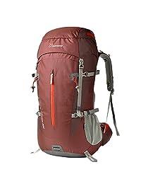 Mountaintop 50 Liter Unisex Outdoor Hiking Climbing Backpack Daypack Shoulder Rainproof Mountaineering Bag Trekking Travel Rucksack (Dark Red)