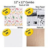 Deli Square Combo (12 x 12 inch) - Wax Paper - Wrap Sandwiched/Tissue - 100 Sheets (Mexican, NewPaper, White, Natural)