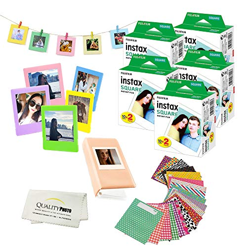 Fuji SQ6 Instax Square Accessory Bundle. 100 Fuji Square Films + 5 Plastic Frames for Prints + 10 Hanging Frames + 20 Stickers to Decorate Your Prints + Album + Quality Photo Microfiber Cloth ...