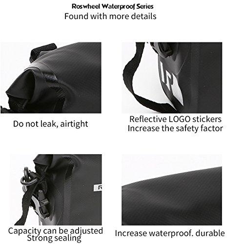 ROSWHEEL Schwarz Wasserdicht 3L Fahrrad Lenkertasche BIKE Head Tasche verstellbar Tasche Satteltasche PVC Tube Bag Front Top Rahmen Tasche für Fahrrad, Mountain, Outdoor Sports