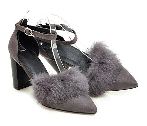 Aisun Damen Sexy Spitz Zehen Kunstfell Offene Knöchelriemchen Blockabsatz Sandale mit Schnalle Grau