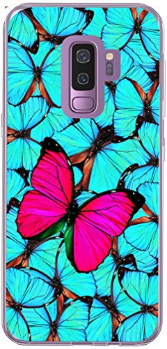 S9 Case & Galaxy S9 Cover & MUQR Skin Rubber Gel Silicone Slim Drop Proof Protection Protector Compatible with Samsung Galaxy S9 & Pink Butterfly Blue Group