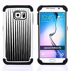 - black white minimalist abstract vertical/ H??brido 3in1 Deluxe Impreso duro Soft Alto Impacto caja de la armadura Defender - SHIMIN CAO - For Samsung Galaxy S6 G9200