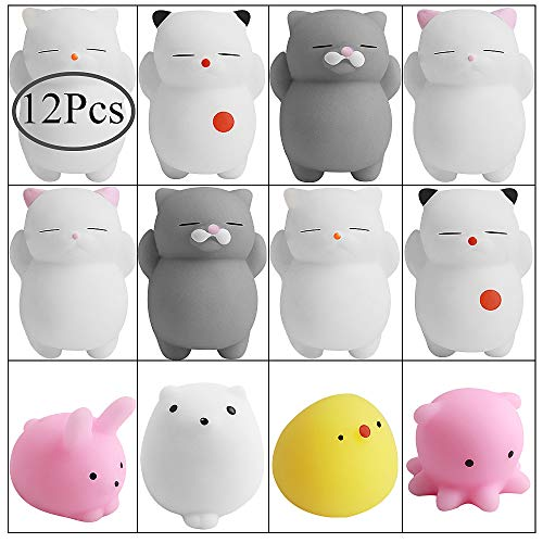 Cat Inch Toy 2 - Hicdaw 12 Pcs Mochi Squishy Toys Stress Relief Animal Squishies Mini Cat Squishy Mochi Animals Squeeze Toys Stress Mochi Kawaii Squishies