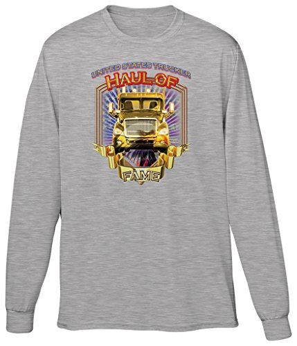 Blittzen Mens Long Sleeve T-shirt Haul of Fame Big Rig, 2XL, Light Gray (Fame Light T-shirt)