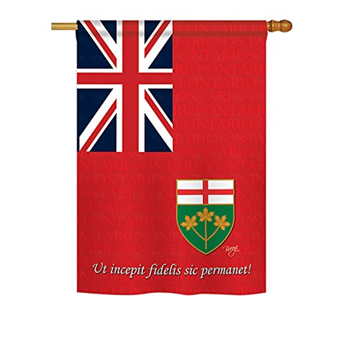 Breeze Decor - Ontario Flags of the World - Everyday Canada Provinces Impressions Decorative Vertical House Flag 28