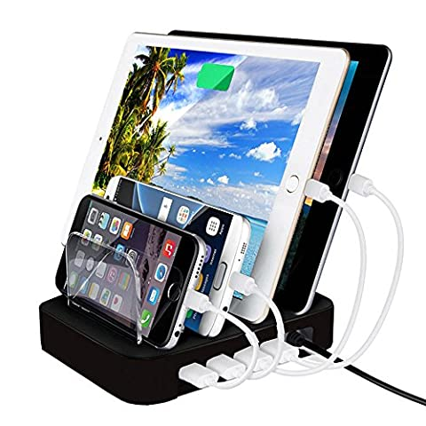 4-Port USB Charging Station Dock, FeBite 24W Charger Organizer for iPhone 7 6 6s Plus 5S SE, iPad Pro Air Mini 3 2 1, Samsung Galaxy S7 S6 Edge S5 S4 S3 Note Tab, iPod, Nexus, HTC and LG (4 (Samsung S4 Mini Charger Dock)