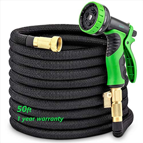Water Hoses Expandable for Garden – 50Ft Flexible and Retractable Pocket Hose Equipped with 9 Function Nozzle Sprayer, Double Latex Core, 3/4 Brass Connector Fitting with ON/Off Valve