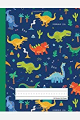 Dinosaur Era - Primary Story Journal: Dotted Midline and Picture Space | Grades K-2 School Exercise Book | 100 Story Pages - Blue (Kids Jurassic Composition Notebooks) Paperback