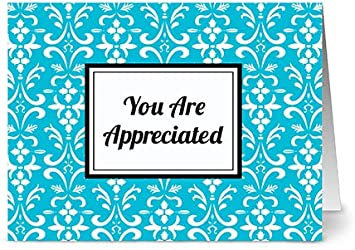 Modern Floral Damask Thinking of You Aqua Blue Blank Cards w//Grey Envelopes Included 24 Cards